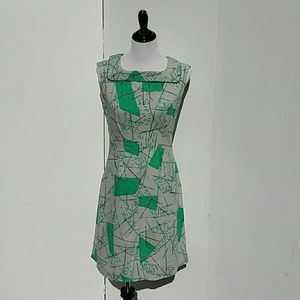 Vintage 60's Atomic Shift Dress With Collar